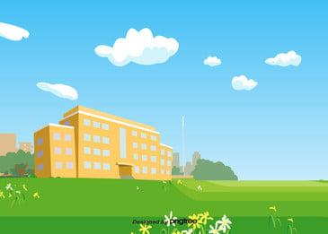 夏は芝生と青い雲を建てる 夏 建築物 建物 背景画像