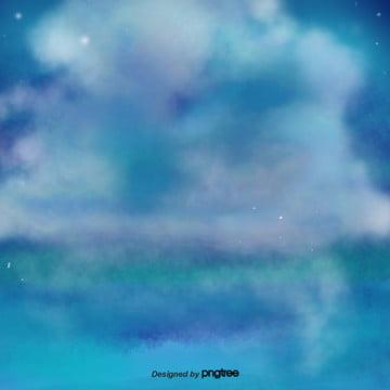 파란 스모그 장면 , 원소, 정경, 몽환 배경 이미지