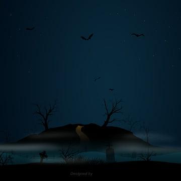 कार्टून हेलोवीन रात के दृश्य , हेलोवीन, कार्टून, दृश्य पृष्ठभूमि छवि