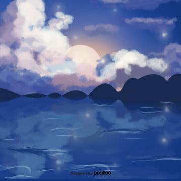 कार्टून नीले रंग की रात के दृश्य , बादल, कार्टून, दृश्य पृष्ठभूमि छवि