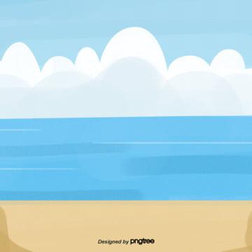 만화 푸른 하늘 바다 모래사장 장면 , 만화, 정경, 바다 배경 이미지