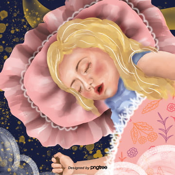 Cartoon Cute Style Sleeping Girl, Character, Cartoon, Lovely, Background image