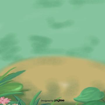 만화 화초 장식 장면 , 원소, 만화, 정경 배경 이미지