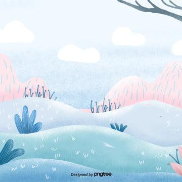 만화 화초 수목 산비탈 장면 , 원소, 만화, 정경 배경 이미지