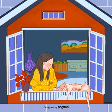 Cartoon girl sitting at the window , Character, Leisure Time, Girl Background image