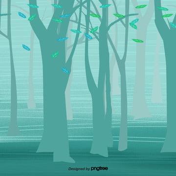 kartun hijau hutan , Kartun, Tempat Kejadian, Pohon imej latar belakang