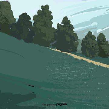 kartun hijau hutan , Pohon, Hutan, Hutan imej latar belakang