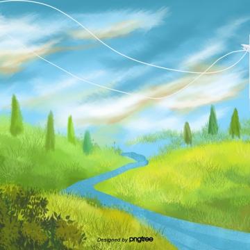कार्टून की हरी ढलानों घास नदियों दृश्य , तत्वों, कार्टून, ढाल पृष्ठभूमि छवि