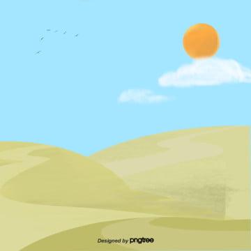 कार्टून  हरे  आकाश में  पहाड़ी दृश्य , कार्टून, दृश्य, सूर्य पृष्ठभूमि छवि