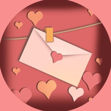 कार्टून गुलाबी वेलेंटाइन  s दिन दिल के आकार का प्रेम पत्र लिफाफे , लिफाफा, ज्यामिति, परिपत्र पृष्ठभूमि छवि