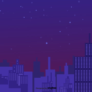 cartoon purple night starry city in the sky , Element, Silhouette, Cartoon Background image