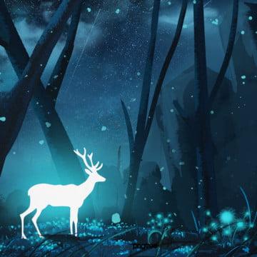 कार्टून सफेद चमक हिरण रात में जंगल का दृश्य , प्रकाश उत्सर्जक, दृश्य, रात पृष्ठभूमि छवि
