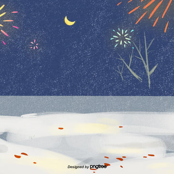cartoon winter fireworks night sky , Snowing, Winter, Winter Background image