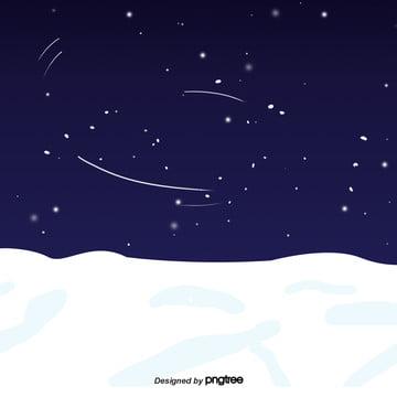 cartoon winter snow night scenery , Snowing, Winter, Winter Background image