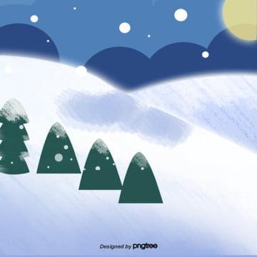 卡通冬季下雪場景 , 下雪, 冬季, 季節 背景圖片