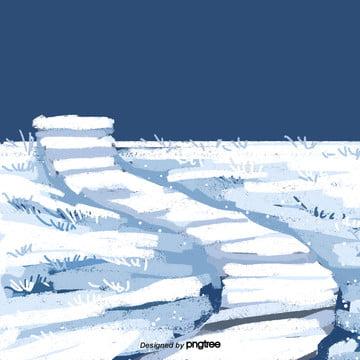 cartoon winter white snow covered ground , Snowing, Winter, Cartoon Background image