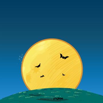 कार्टून पीले चाँद बल्ले हेलोवीन सजावट के दृश्य , हेलोवीन, कार्टून, रात पृष्ठभूमि छवि