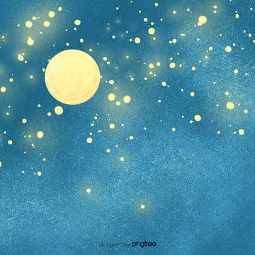 黄色の月と星の星空 , アニメ, シーン, 夜の夜 背景画像