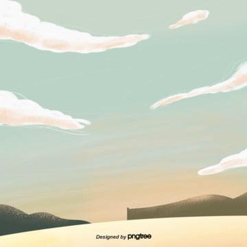 कार्टून पीले आकाश ढलानों गोधूलि दृश्य , बादल, कार्टून, जमीन पृष्ठभूमि छवि