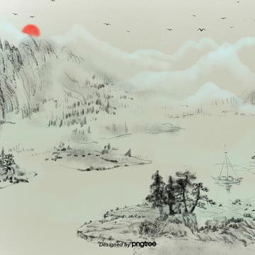 中国風の山水画の日の出 , 作品, シーン, 山水画 背景画像