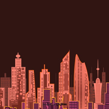 city silhouette in cartoon red night , Silhouette, Cartoon, City Background image