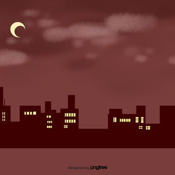 city silhouette in cartoon red night , Silhouette, Cartoon, Scenes Background image