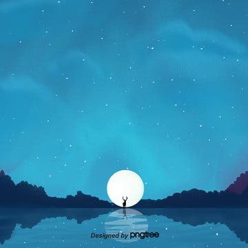 dream màu xanh nai rừng viên nguyệt nền bầu trời đầy sao , Viên Nguyệt, Trong Rừng, Nền Trong Mơ Ảnh nền