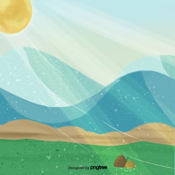 कार्टून हरे रंग सूर्य के प्रकाश पहाड़ क्षेत्र दर्शनों की संख्या , सुंदर, कार्टून, दृश्य पृष्ठभूमि छवि