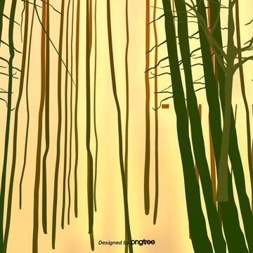 कार्टून पीले रंग की पृष्ठभूमि के साथ हरे बांस , तत्वों, कार्टून, दृश्य पृष्ठभूमि छवि