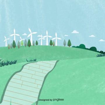 गर्मियों में हरी घास windmill बिजली , बादल, तत्वों, जंगल पृष्ठभूमि छवि