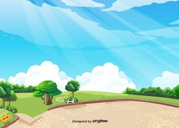 parque prado verde verão o céu azul com nuvens brancas, Park, No Verão, As árvores Imagem de fundo