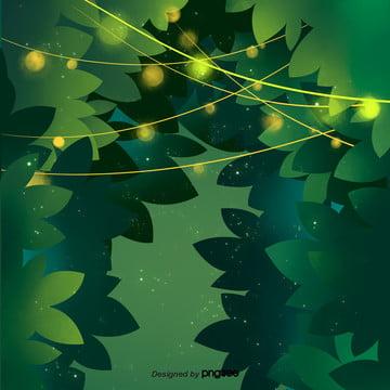 緑の発光葉の背景 , 発光装飾, シーン, 木の茂み 背景画像