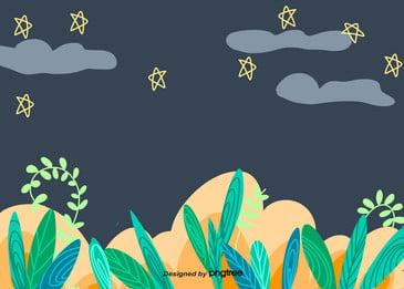 綠色植物小草星星雲朵, 雲朵, 五角星, 夏季 背景圖片