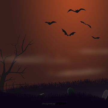 हेलोवीन दृश्य चमगादड़ की घास , हेलोवीन, कार्टून, दृश्य पृष्ठभूमि छवि