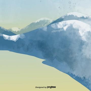 हाथ से पेंट नीले रंग की पहाड़ी दृश्य , सुंदर, कार्टून, ढाल पृष्ठभूमि छवि