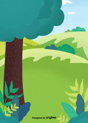 手繪綠色草原樹木背景 , 手繪, 樹木, 綠色 背景圖片
