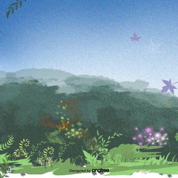 手描きの砂まじりの大木や草花 , 小草, 山, 木 背景画像