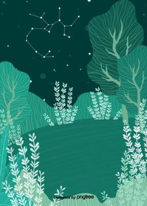 手繪夜晚綠色草原植被背景 , 夜晚, 夜色, 手繪 背景圖片