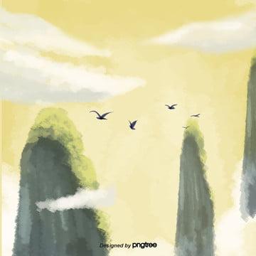 चित्रित हाथ पीले पहाड़ की उड़ान पक्षी दृश्य , बादल, कार्टून, दृश्य पृष्ठभूमि छवि