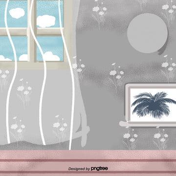 cảnh phim hoạt hình màu xám của tường trong nhà , Sàn Nhà, Cảnh, Tường Ảnh nền