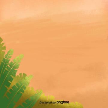 lively orange green leaf taobao e commerce background , Orange, Lively, Green Leaf Background image