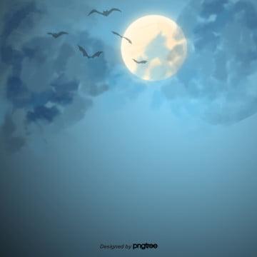 रात बादलों में छिप चंद्रमा चमगादड़ , हेलोवीन, बादल, कार्टून पृष्ठभूमि छवि