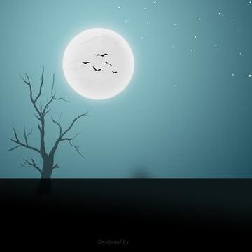 रात चाँद के तहत पेड़ चमगादड़ हेलोवीन दृश्य , हेलोवीन, कार्टून, दृश्य पृष्ठभूमि छवि