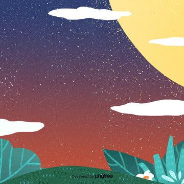 कार्टून के एक पीला चाँद के तहत विकिरण की रात , बादल, कार्टून, रात पृष्ठभूमि छवि