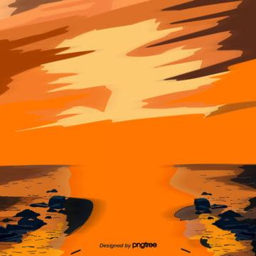 橘色油畫風格潑墨背景 , 場景, 夕陽, 大海 背景圖片
