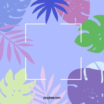 淺藍夏日棕櫚葉背景 , 可愛葉子, 夏天, 夏季 背景圖片