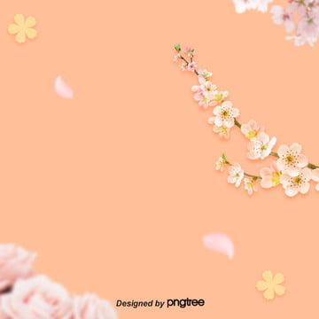 핑크 나뭇가지 꽃송이 , 꽃이 피다, 나뭇가지., 만개하다 배경 이미지