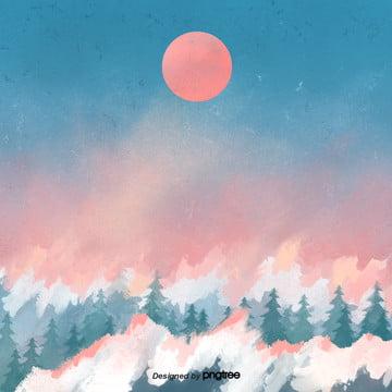 red sun over cartoon forest , Cartoon, Scenes, Sky Background image