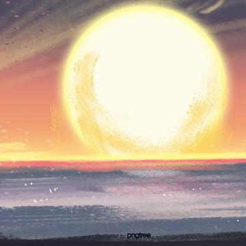 समुद्र पर गोधूलि बेला दृश्यों की पृष्ठभूमि , दृश्य, आकाश, दर्शनों की संख्या पृष्ठभूमि छवि