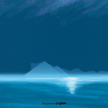 नीले रंग की रात सागर दृश्य , कार्टून, दृश्य, शानदार पृष्ठभूमि छवि